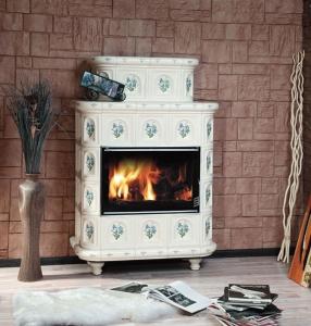Печь-камин ЭкоКамин Эльзас ИЗРАЗЕЦ с короной, на ножках Арка / Барокко