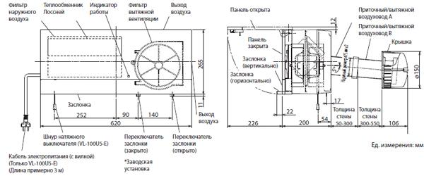 Монтаж приточно-вытяжной вентиляционной установки Mitsubishi Electric VL-100EU5-E